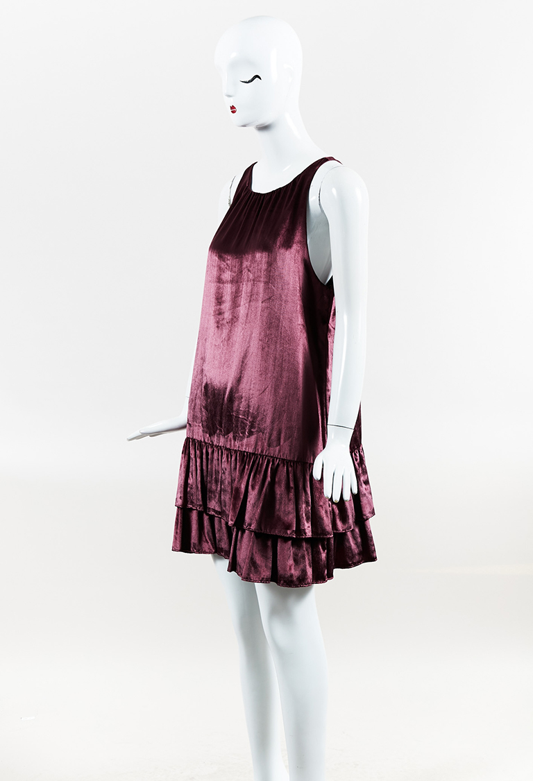 Purple Velvet Sleeveless Ruffled Flounce Shift Dress