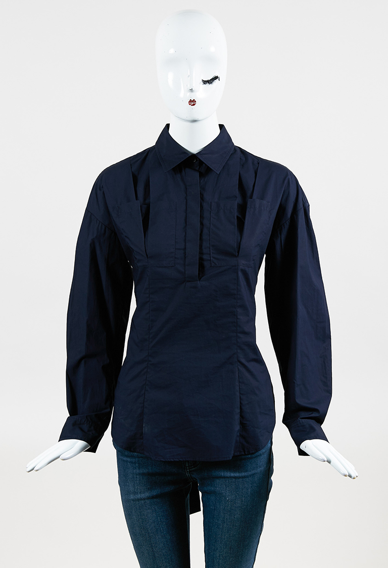 "10 Crosby ""Midnight"" Blue Cotton Pleated Pocket Shirt"