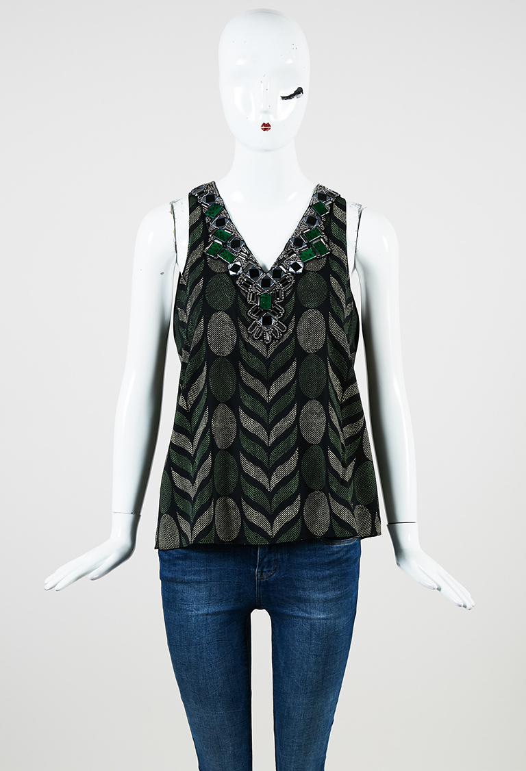 Green Black Silk Sleeveless Printed & Embellished Top