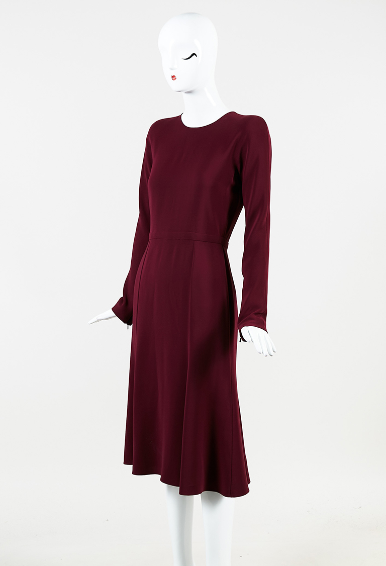 Purple Silk Long Sleeve Flared Midi Dress