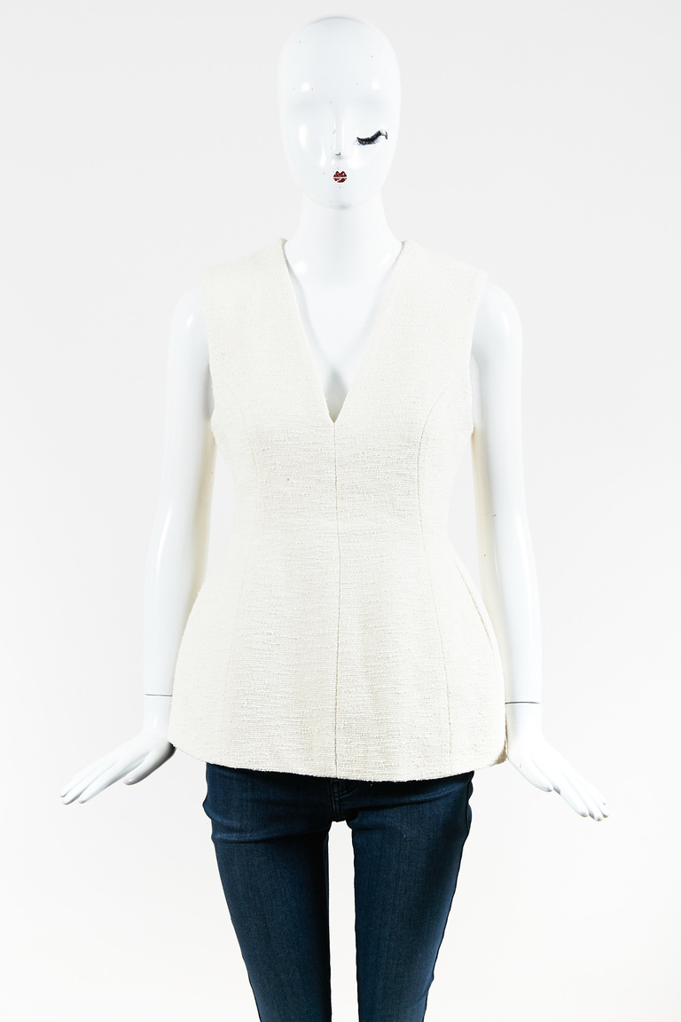 Cream Cotton Blend V Neck Sleeveless Paneled Top