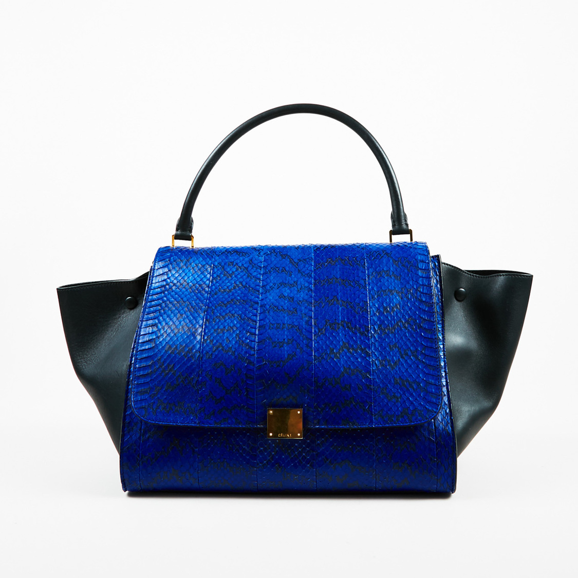 Details about Celine Blue   Black Python Suede   Leather Top Handle Large