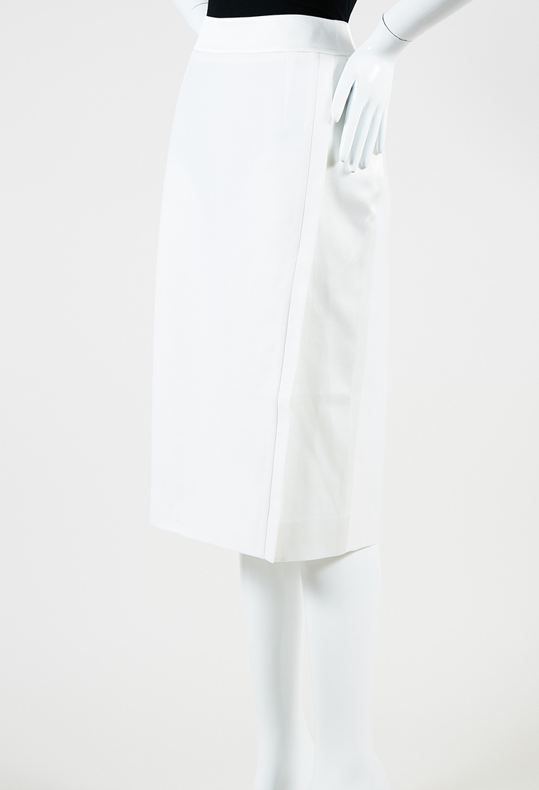 "White Wool & Satin ""Alamo"" Wrap Pencil Skirt"