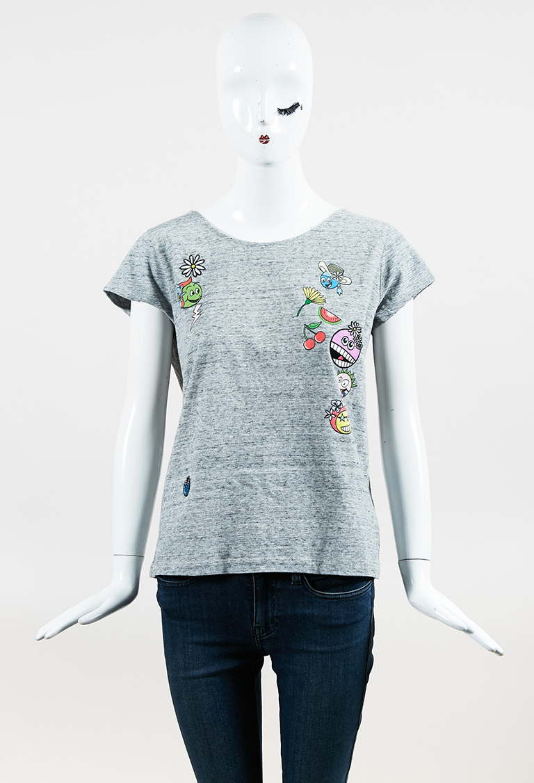 """Gray Multicolor Knit """"Print and Patch Icon"""" Short Sleeve Top"""