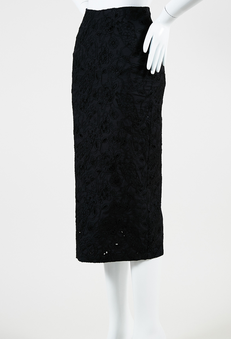"""Black Cotton Blend Embroidered """"Pesce Istrice"""" Pencil Skirt"""