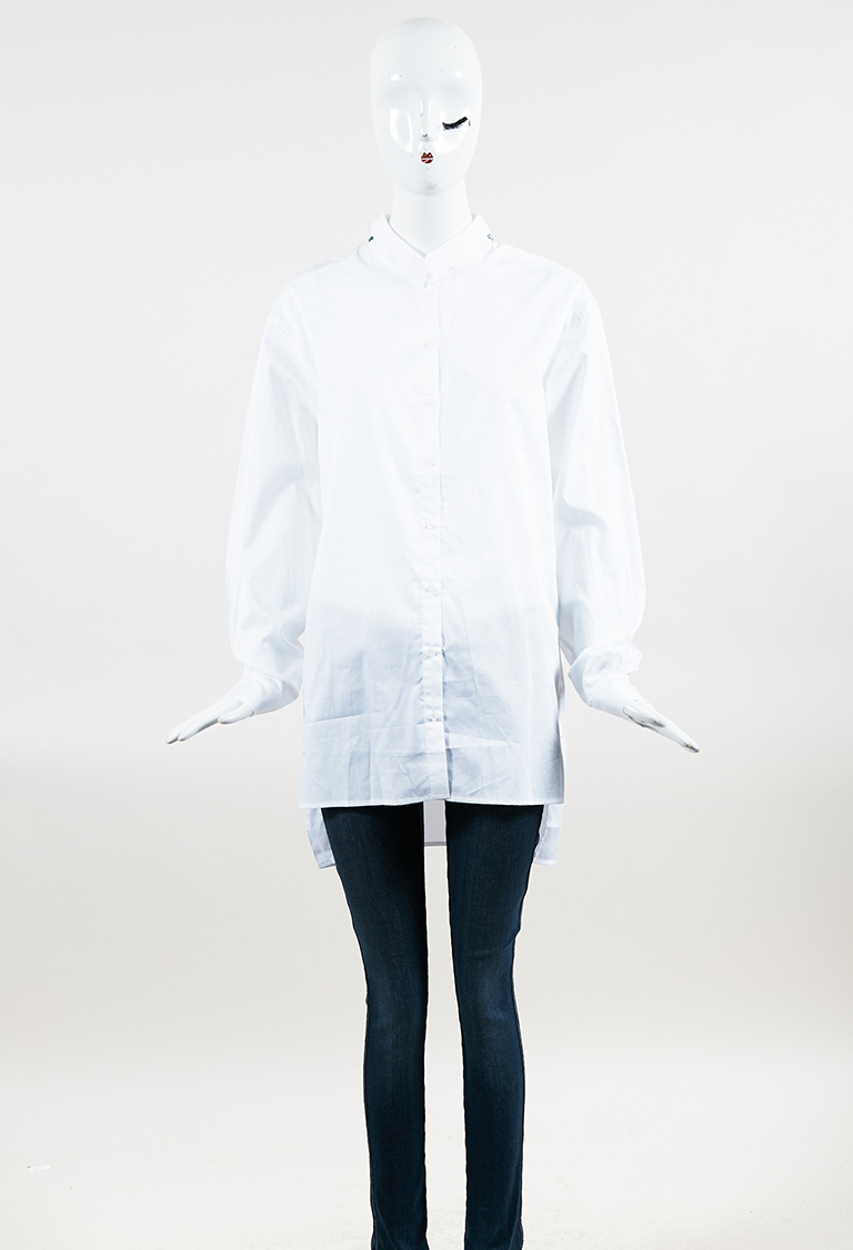 White Cotton Embroidered Collar Long Sleeve Button Up Top