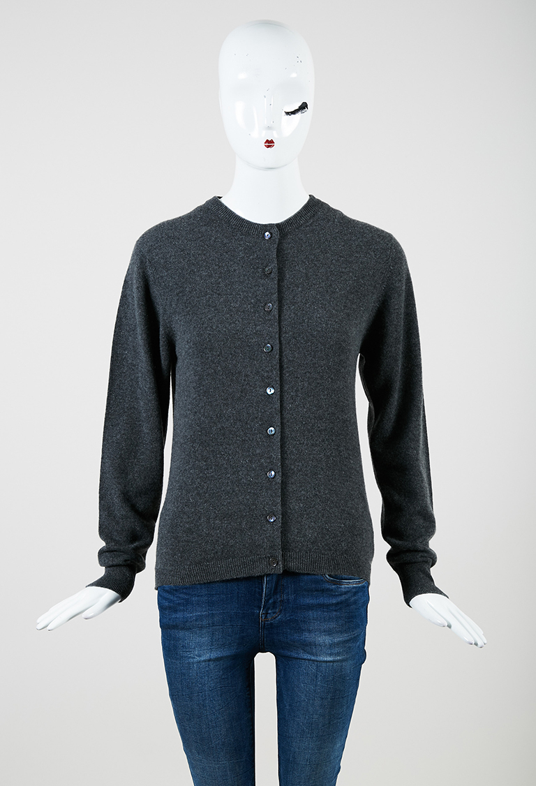 Gray Cashmere Button Up Cardigan S