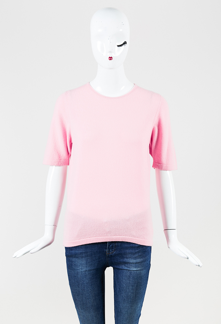 Light Pink Cashmere Short Sleeve Sweater