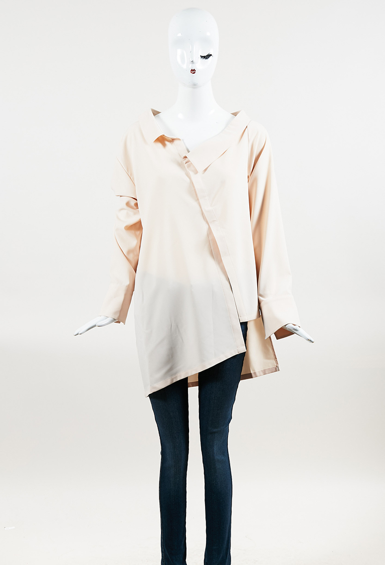 Light Pink Asymmetrical Snap Front Long Sleeve Top