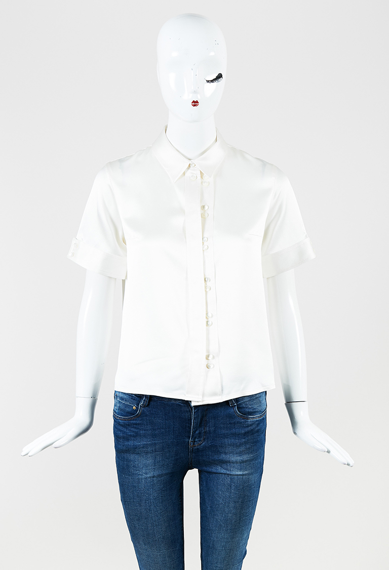 Cream Satin Collared Button Up Short Sleeve Blouse