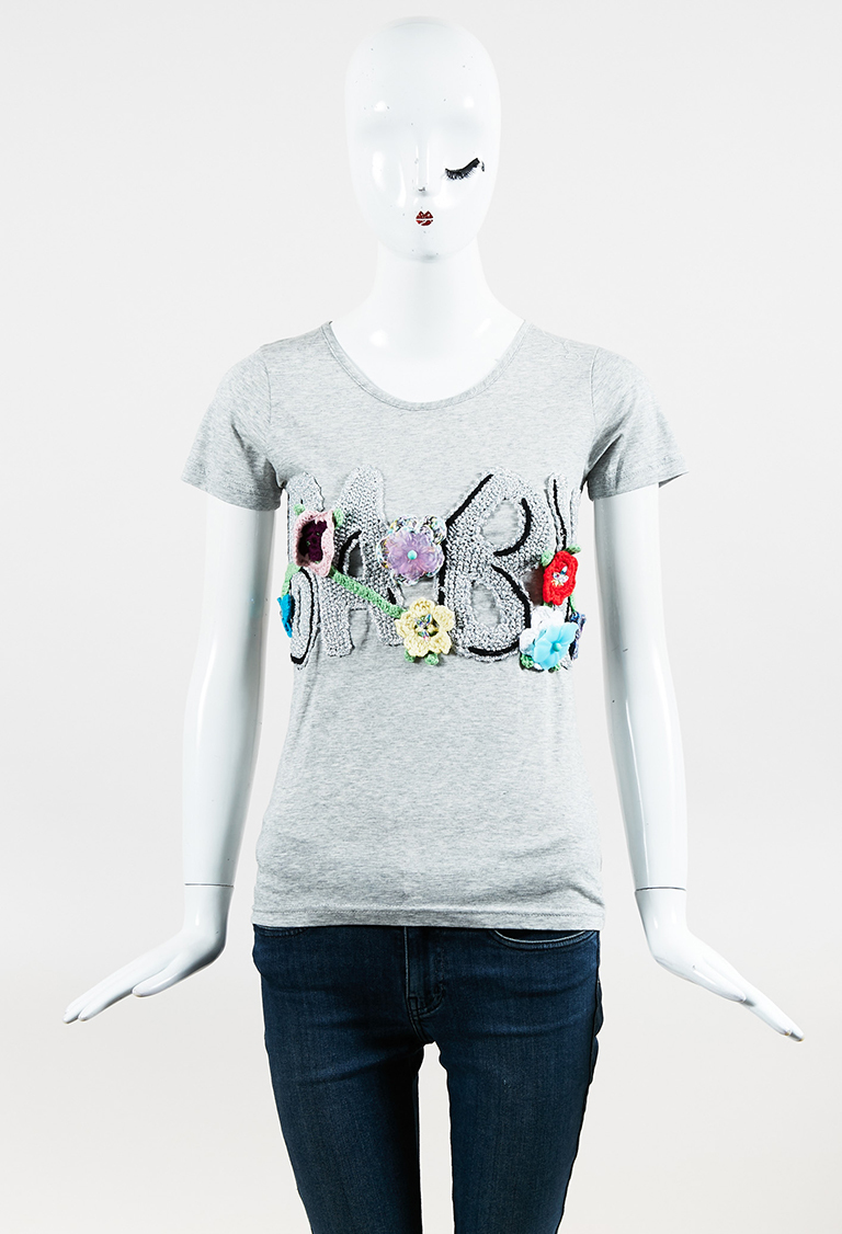 "Gray Multi Cotton ""Baby"" Embellished Short Sleeve Top"