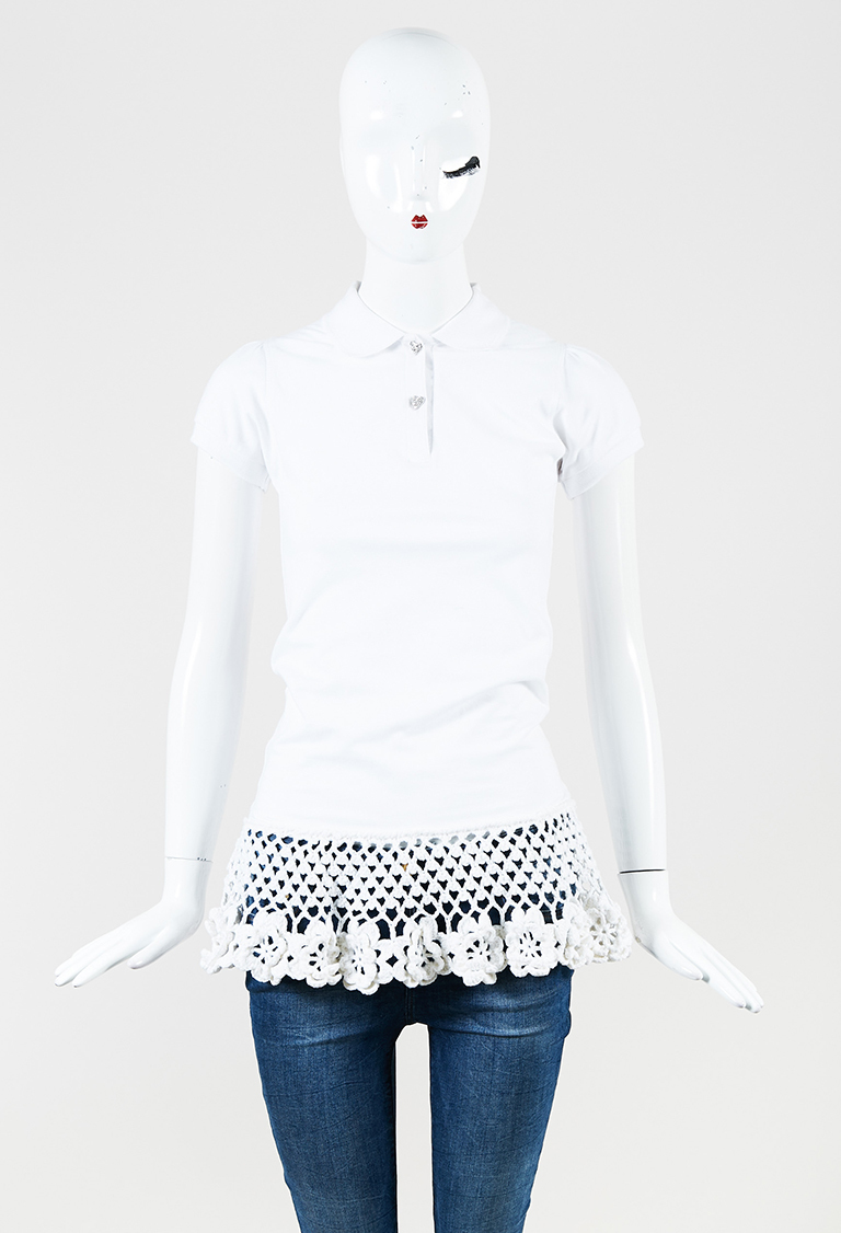 White Cotton & Cashmere Short Sleeve Button Down Top