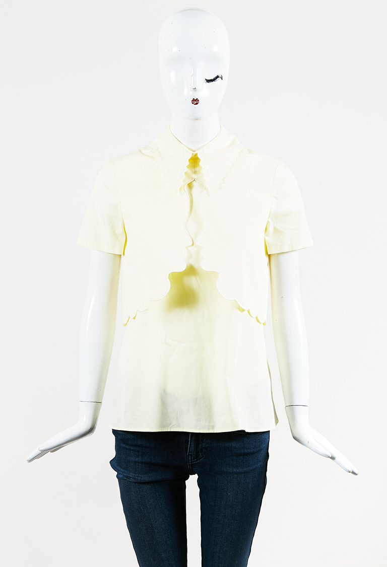 Yellow Cotton Face Silhouette Short Sleeve Top
