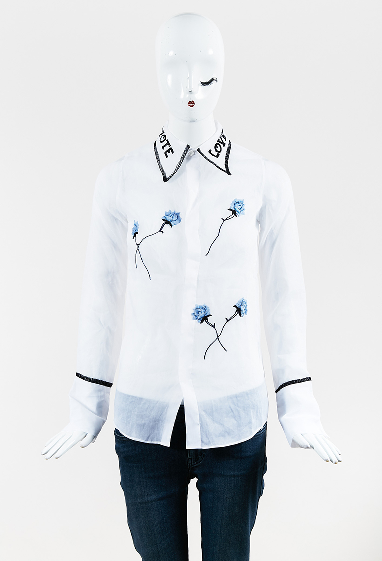 "White Multi ""Vote Love"" Floral Embroidered Long Sleeve Shirt"