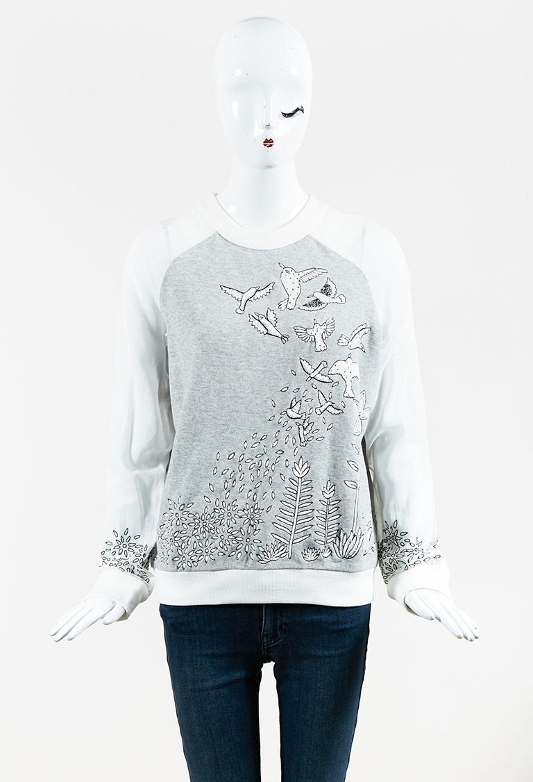Gray Multi Cotton & Silk Embroidered Long Sleeve Top
