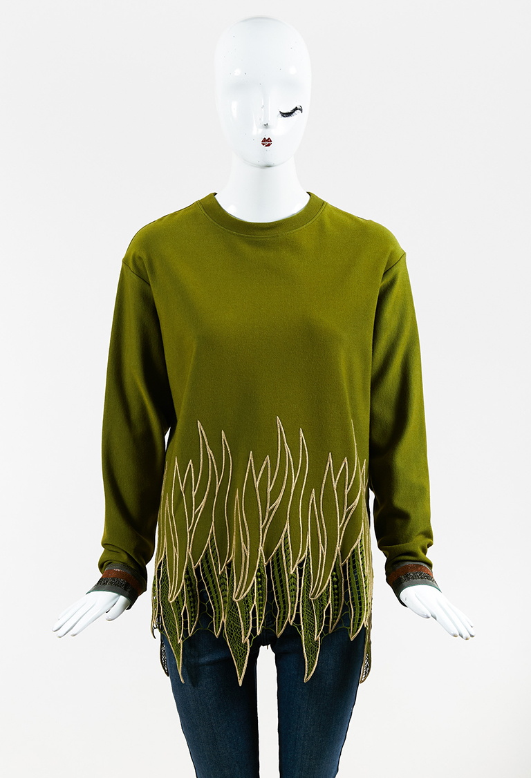 Green Knit Embroidered Long Sleeve Sweater