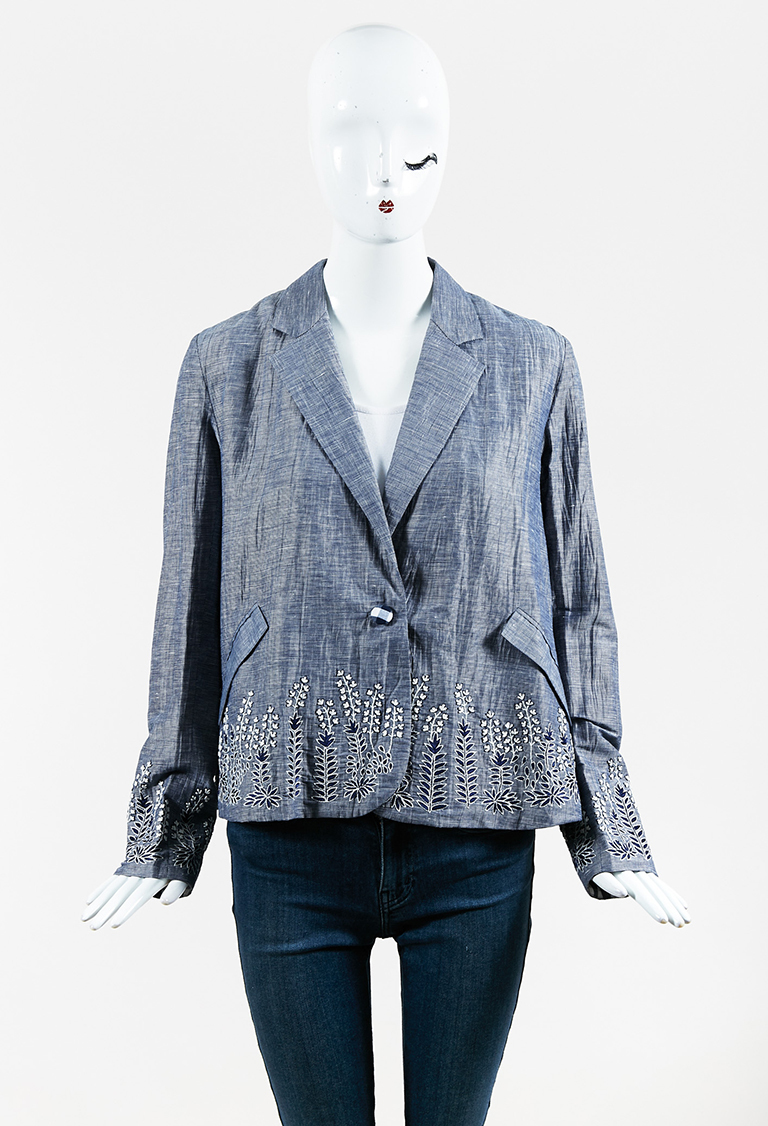 Blue White Cotton Silk Floral Embroidered Jacket