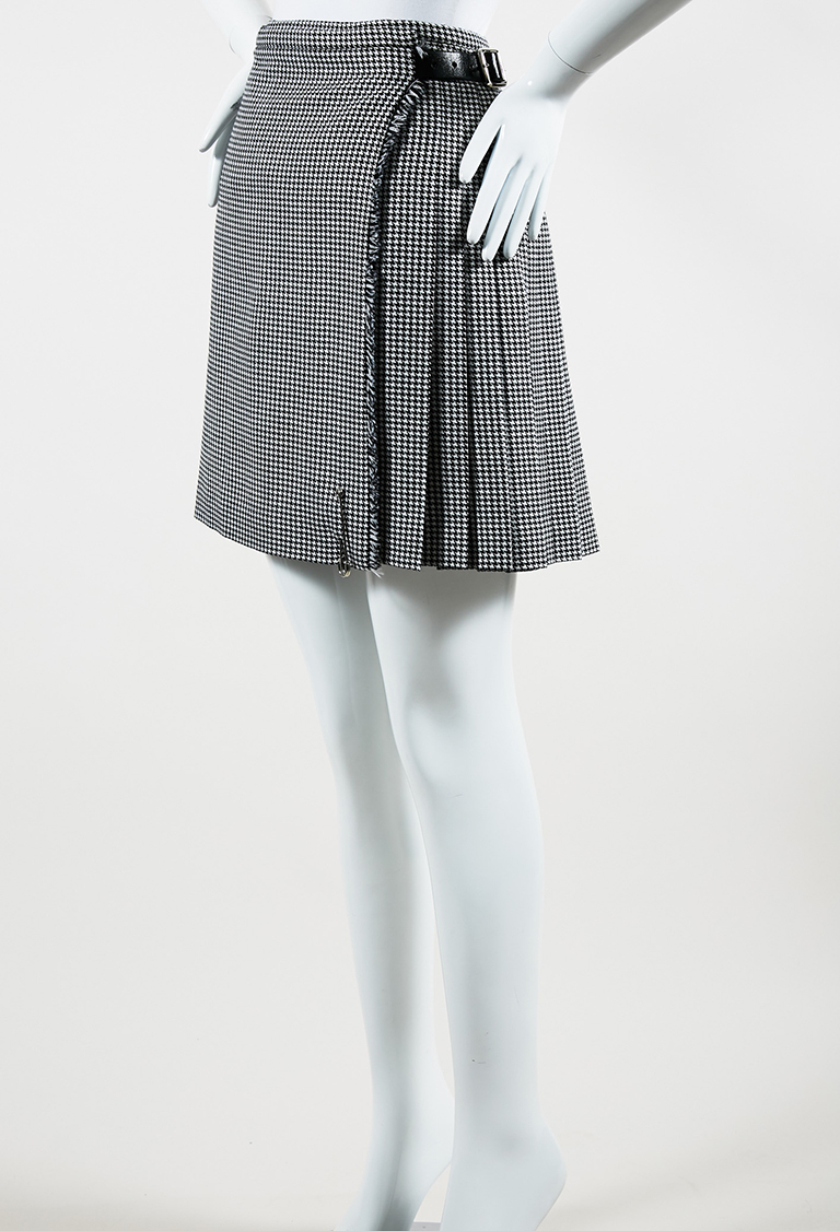 Black White Wool Leather Pleated Houndstooth Kilt Pin Skirt