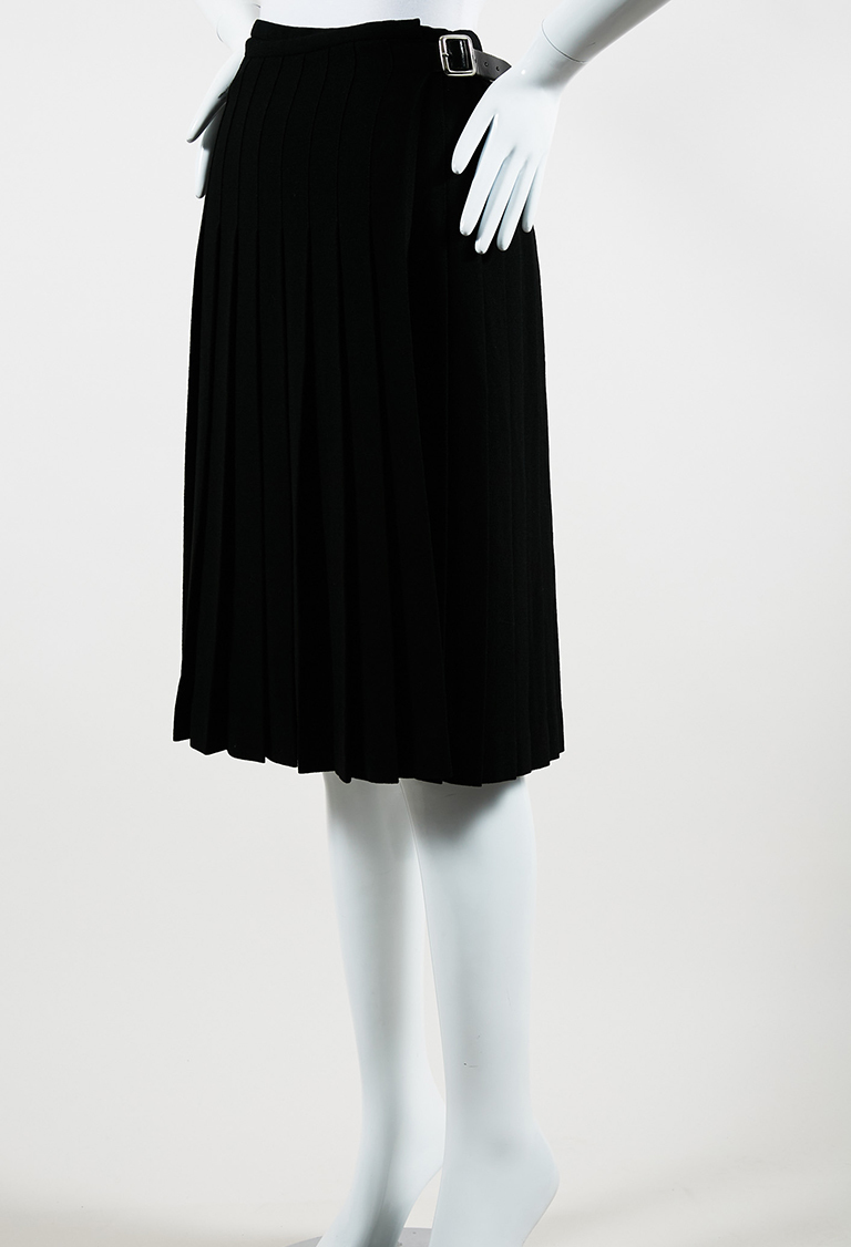 Black Crepe & Leather Pleated Kilt Pin Wrap Skirt