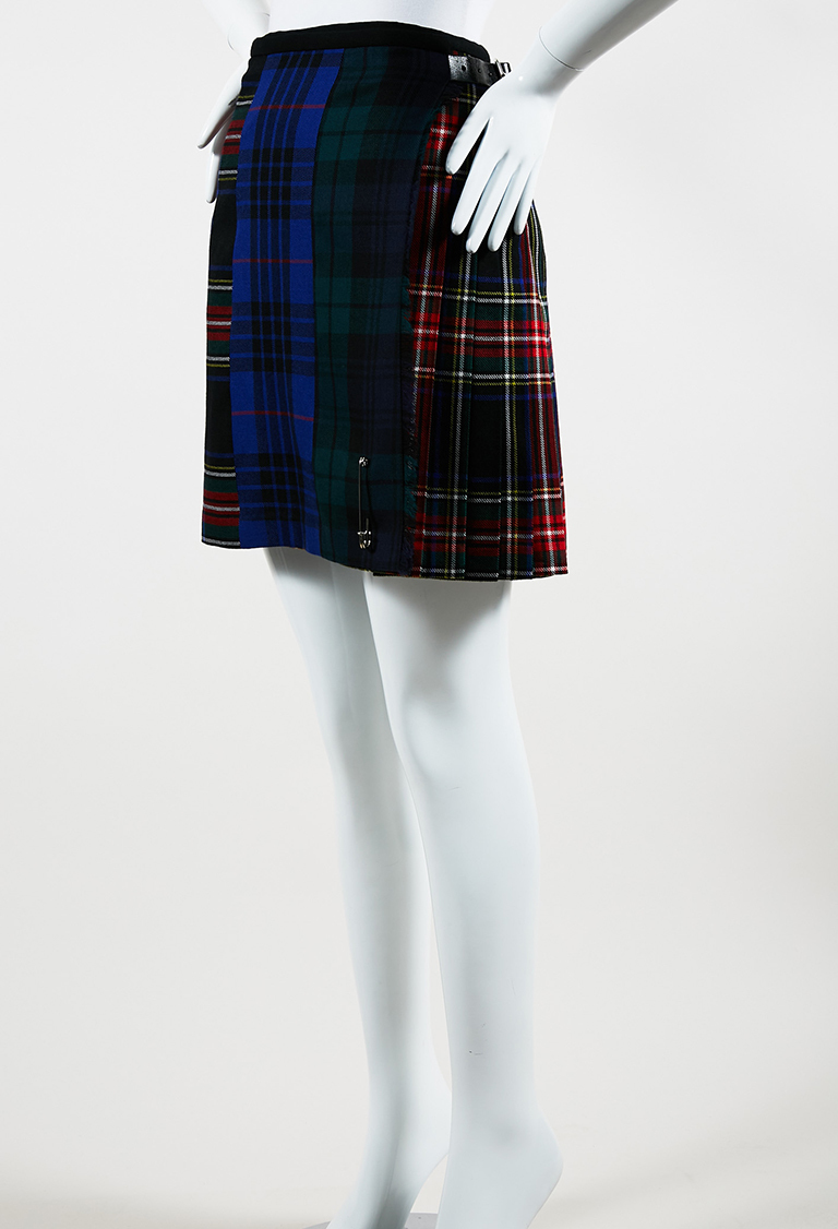 Blue Green Multicolor Wool & Leather Plaid Skirt