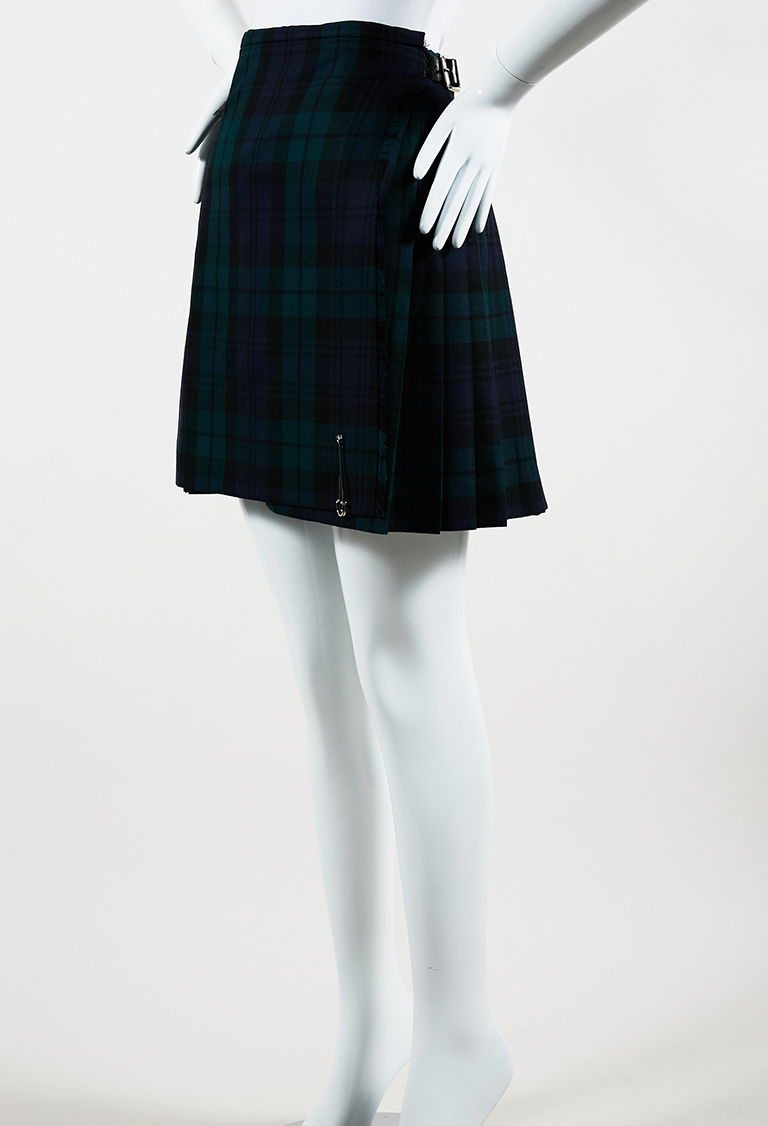 Green and Blue Wool & Leather Pleated Plaid Kilt Pin Skirt