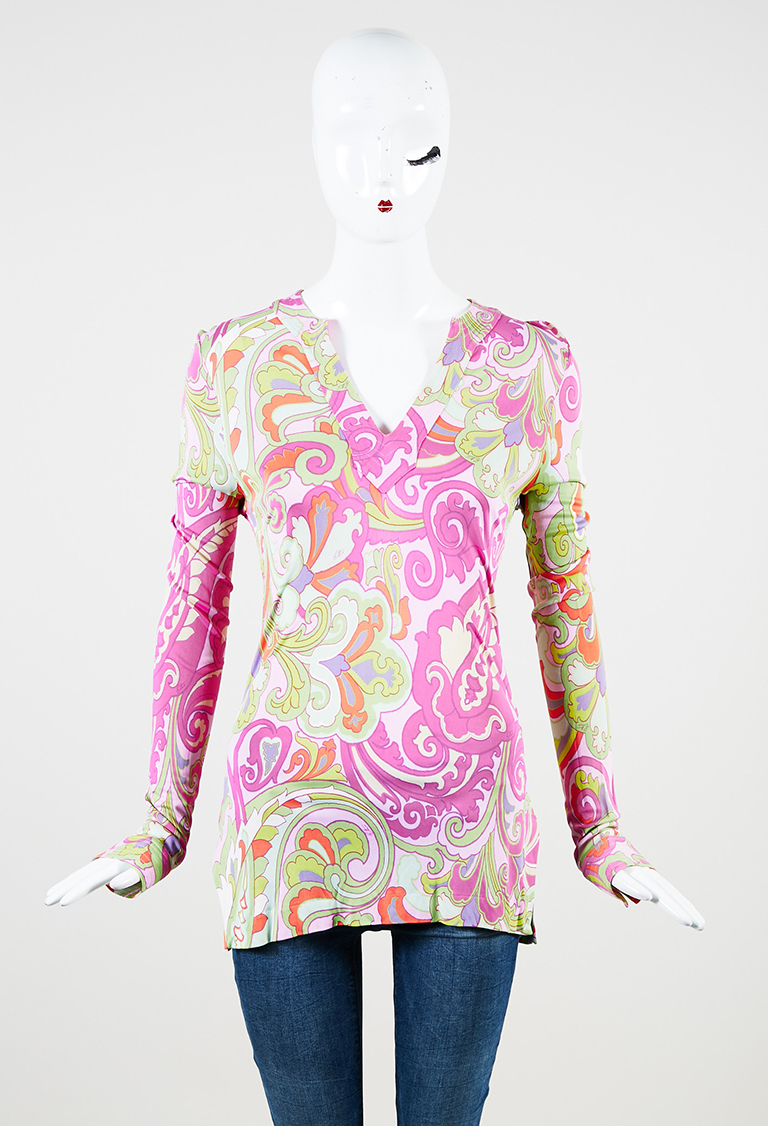 Multicolor Stretch Knit Paisley Print Long Sleeve Tunic Top