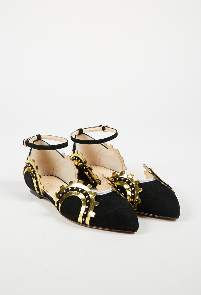 "Black Suede Gold Leather ""Machine Age"" Flats"