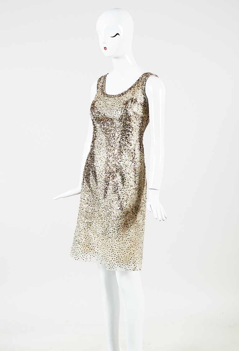 Gold Brown Silk Sequin Embellished Sleeveless Dress