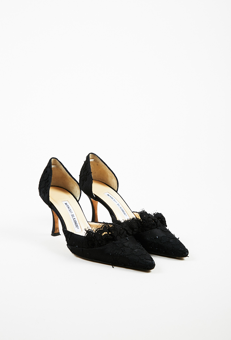 Black Floral Lace Pointed Toe D Orsay Pumps