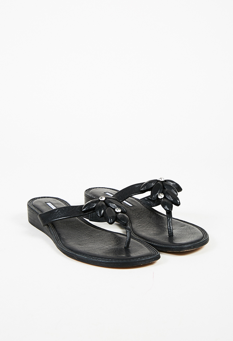 Lavender Black Leather Crystal Embellished Thong Sandals