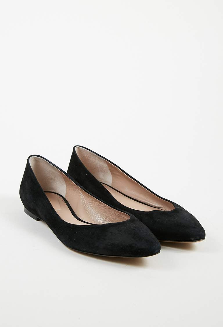 Black Suede Pointed Toe Low Heel Flats