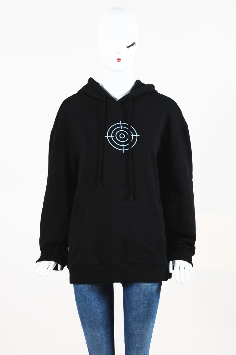 Men's Black Blue 'Eleven Inch Gun Club' Printed Hooded Sweatshirt