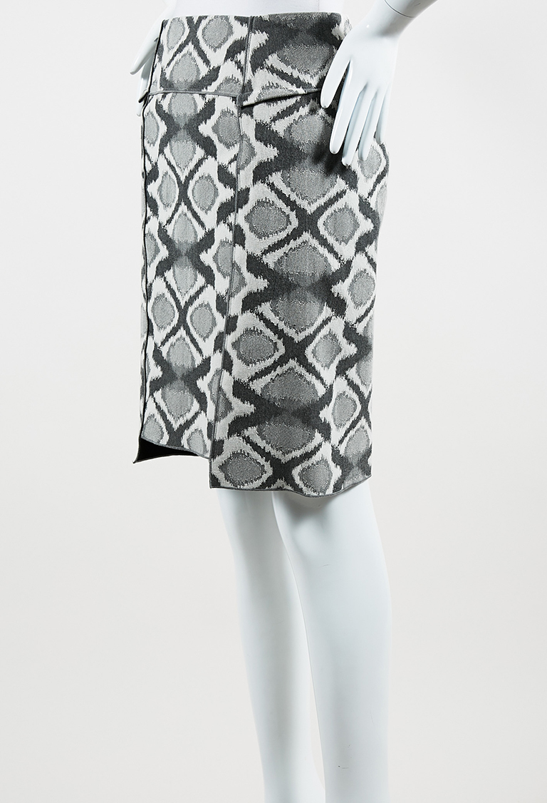 Gray & White Cotton Blend Patterned Pencil Skirt