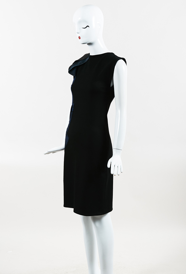 Black Multicolor Knit Asymmetric Ruffle Sheath Dress