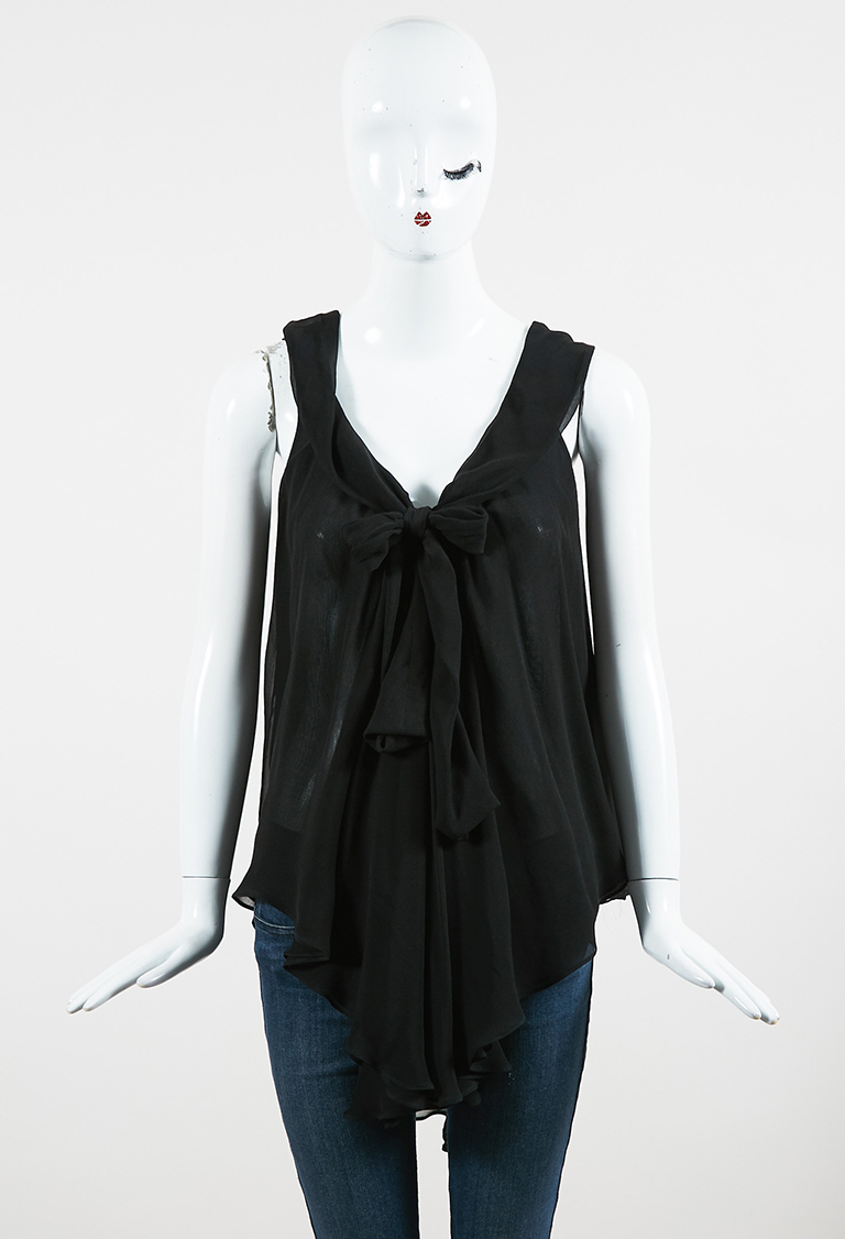 Black Silk Chiffon Sleeveless Ruffled Tie Neck Top