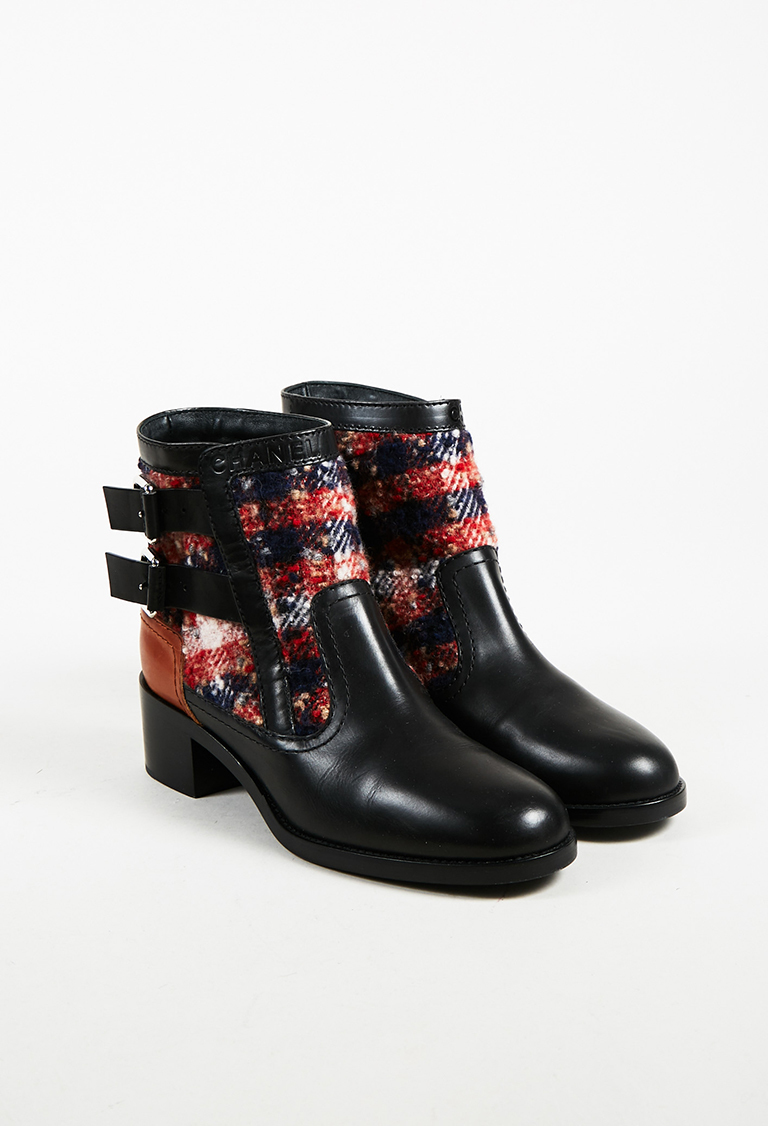 Multicolor Tweed & Lambskin Leather Double Buckle Ankle Boots