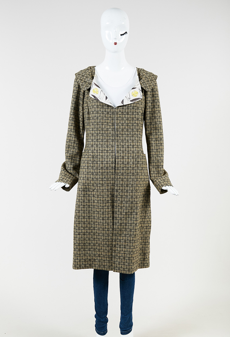 Brown Yellow Wool Blend Patterned Collared Long Jacket