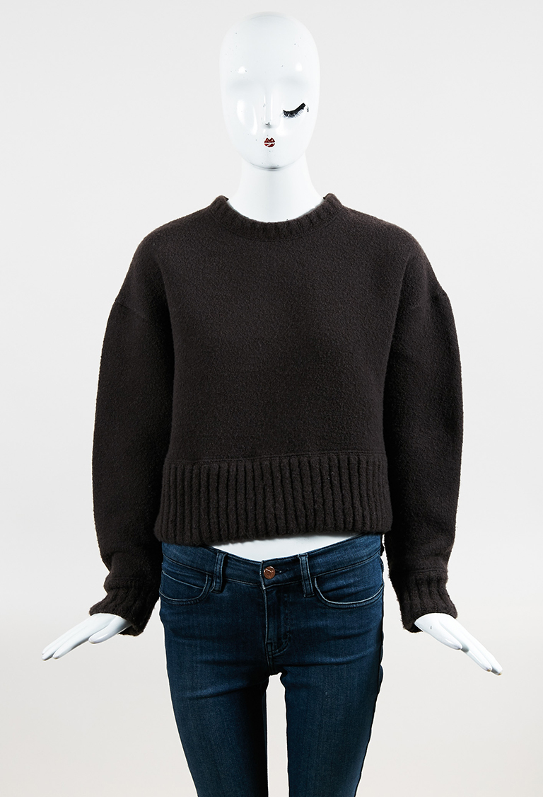 Brown Wool Blend Long Sleeve Cropped Pullover Sweater