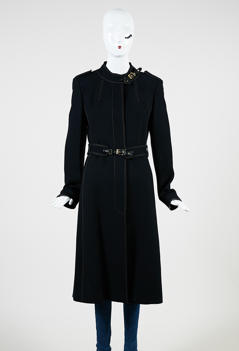 Navy Blue Wool Topstitch Button Up Belted Coat