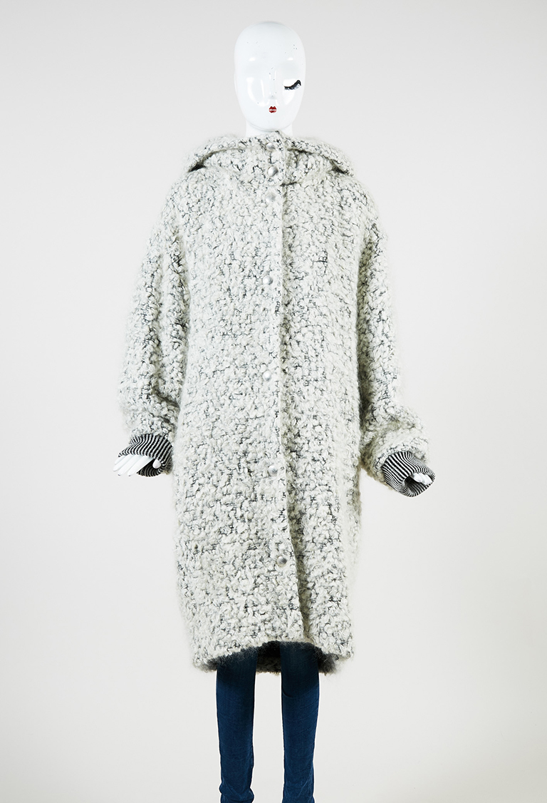 White Black Mohair Blend Hooded Button Up Coat