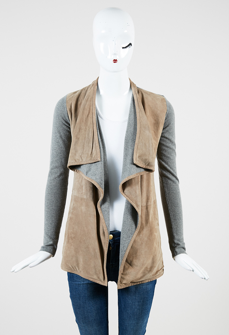 Gray Cashmere Knit & Beige Suede Open Cardigan