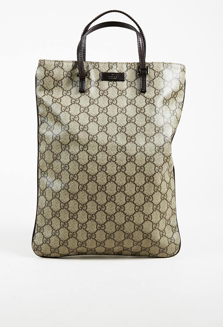 """Beige & Brown Coated Canvas GG Supreme """"Plus"""" Tote Bag"""