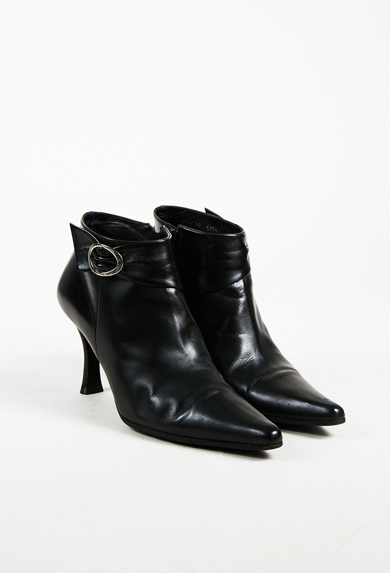 342317bfb368 Balenciaga. VINTAGE Black Leather Pointed Toe Ankle Boots