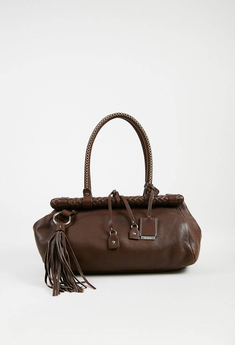 Brown Grained Leather Woven Trim Top Handle Satchel Bag