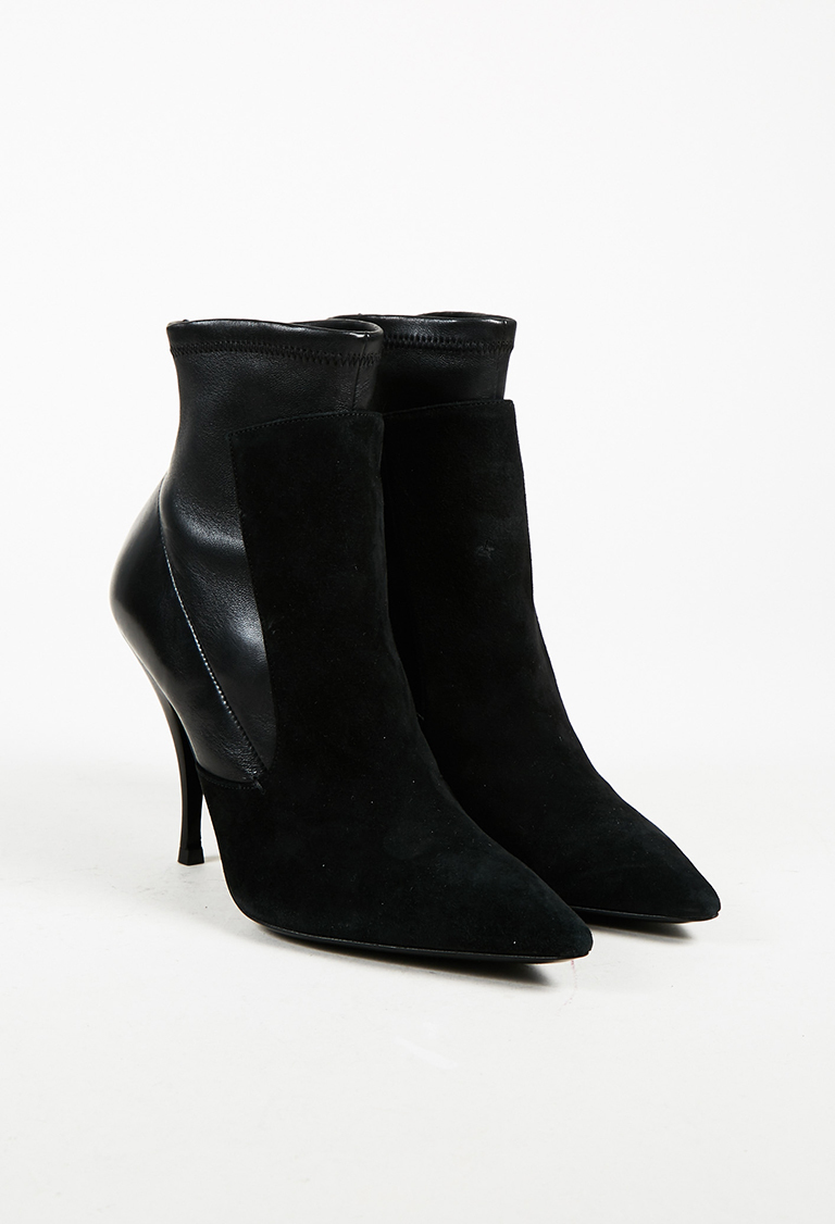 Black Suede & Leather Pointed Toe High Heel Ankle Boots