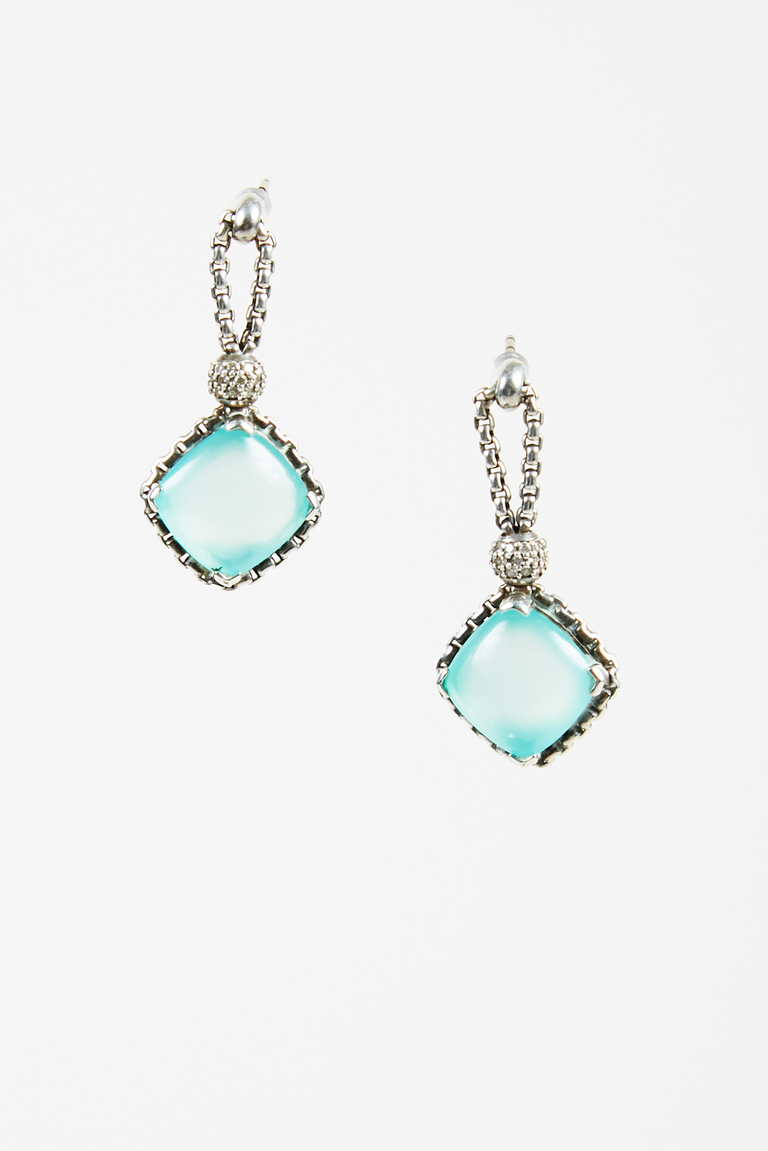 "Sterling Silver Aqua Chalcedony ""Cushion on Point"" Earrings"