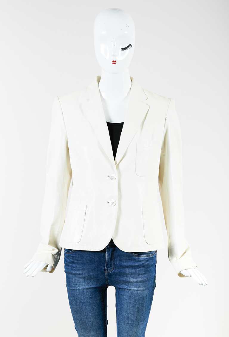 Collection Cream Leather Mother of Pearl Buttoned Jacket