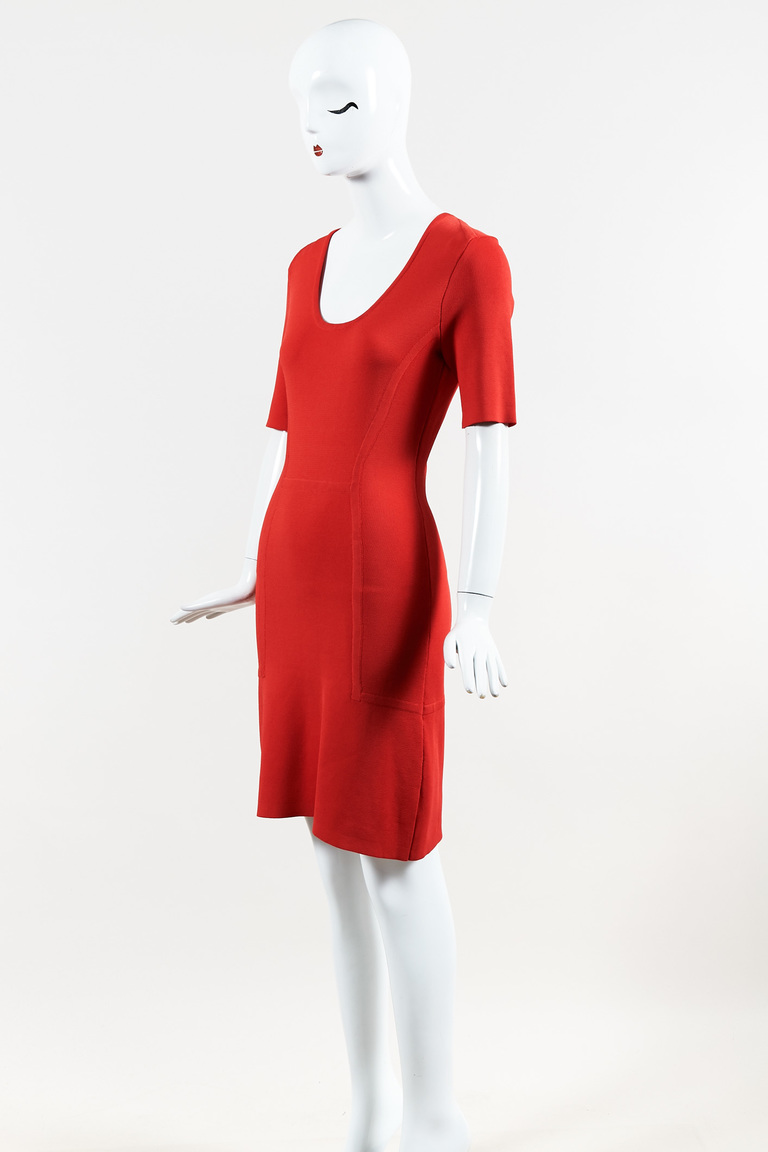 Red Stretch Knit Scoop Neck Short Sleeve A Line Dress