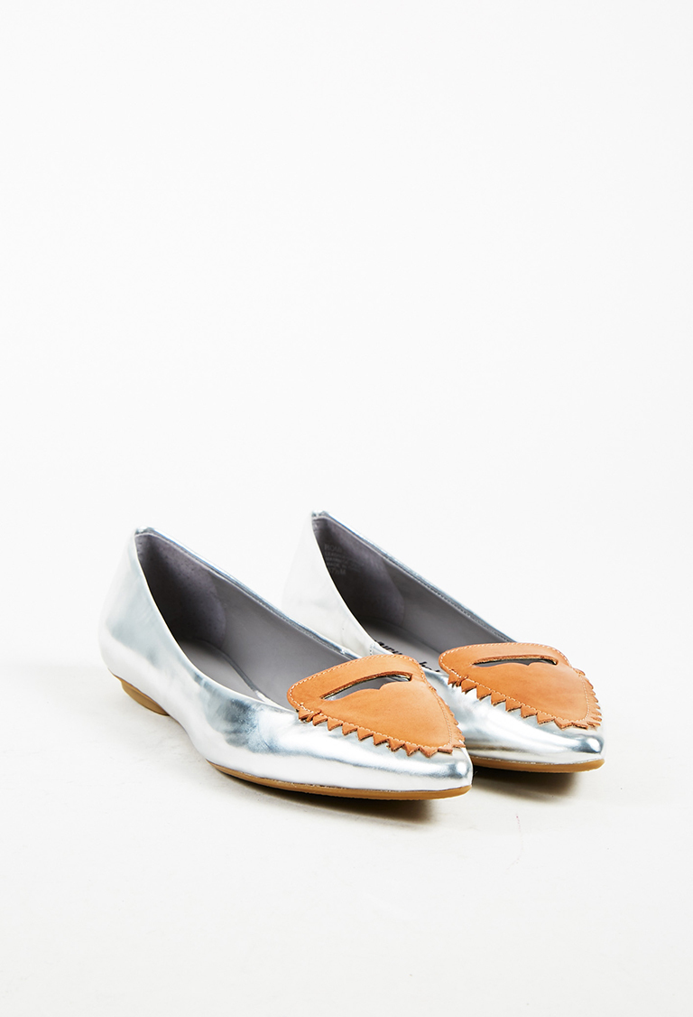 Metallic Silver & Brown Leather Pointed Toe Flats