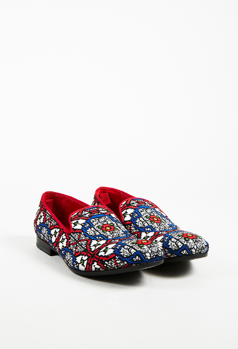 Men's Multicolor Woven Stained Glass Printed Loafers